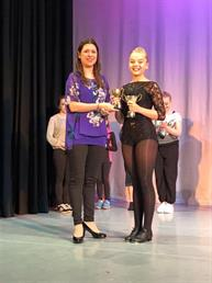 Ruby winning the Character solo Trophy, being presented to her by the adjudicator xxx